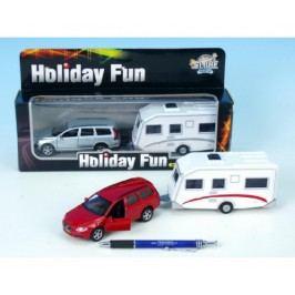Mikro hračky Auto Volvo V70 kov s přívěsem na zpětné natažení - červené