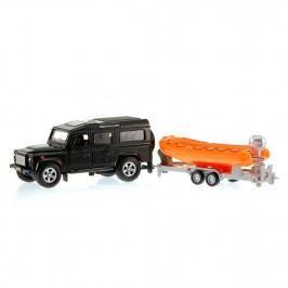 Mikro hračky Auto Land Rover Defender se člunem (černé auto)