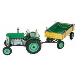 KOVAP Traktor Zetor s valníkem zelený na klíček kov 28 cm Kovap v krabičce