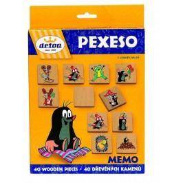 Detoa Pexeso Krtek společenská hra 40 dřevěných kamenů