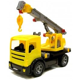 LENA Auto jeřáb plast 70 cm 2-osý žlutý