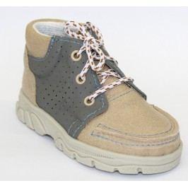 První krůčky Chlapecké kožené celoroční boty - světle hnědé