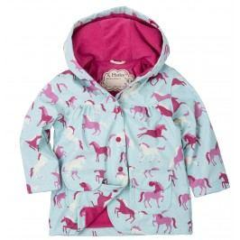 Hatley Dívčí bunda do deště s koníky - zeleno-růžová