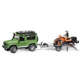Bruder Land Rover s vlekem, sněžným skůtrem a příslušenstvím