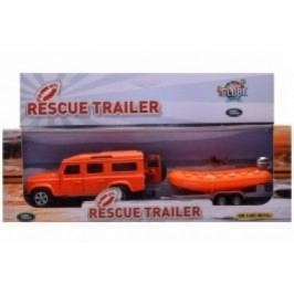 Mikro hračky Auto Land Rover Defender se člunem (oranžové auto)