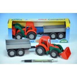 LENA Traktor Mini Compact s přívěsem plast 24 cm