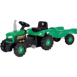 DOLU Dětský traktor šlapací s vlečkou, zelený