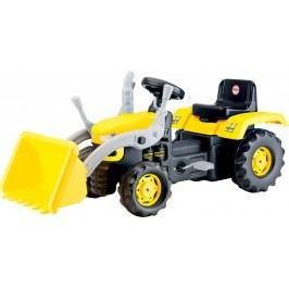 DOLU Velký šlapací traktor s rypadlem, žlutý