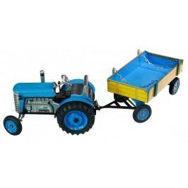 KOVAP Traktor Zetor s valníkem modrý na klíček kov 28 cm