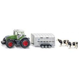 Super - Traktor John Deere s přívěsem pro přepravu dobytka vč. 2 krav, 1:50