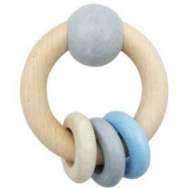 HESS Round Rattle Ball & Prsteny modré