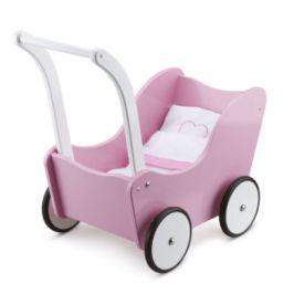 New Classic Toys kočárek pro panenky včetně lůžkovin růžový