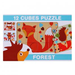 Skládací obrázkové kostky 12 ks lesní zvířata