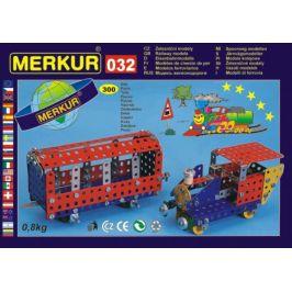Merkur Toys Stavebnice MERKUR 032 Železniční modely 10 modelů 300ks v krabici 36x27x3cm