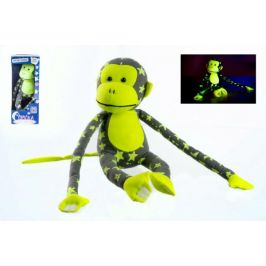 Teddies Opice svítící ve tmě plyš 45x14cm šedá/žlutá v krabici