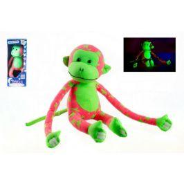 Teddies Opice svítící ve tmě plyš 45x14cm růžová/zelená v krabici