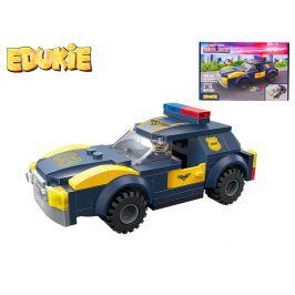 Mikro Trading EDUKIE stavebnice policejní auto na zpětný chod 112ks + 1figurka v krabičce