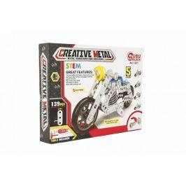 Teddies Stavebnice kovová motorka 139 dílků v krabici 26x20x4cm
