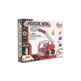 Teddies Stavebnice kovová hasiči 121 dílků v krabici 26x20x4cm