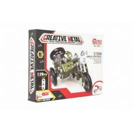 Teddies Stavebnice kovová vojenská tříkolka motorka 139 dílků v krabici 26x20x4cm