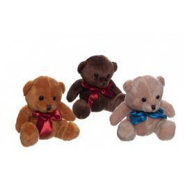 Teddies Medvěd/Medvídek sedící se mašlí plyš 3 barvy 15cm v sáčku 0+