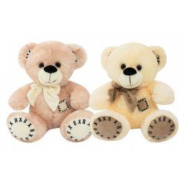 Teddies Medvěd s mašlí sedící plyš 28cm 2 barvy 0m+