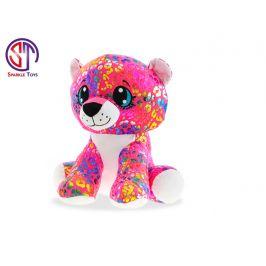 Mikro Trading Leopard Rainbow Star Sparkle plyšový barevný 24cm skladem