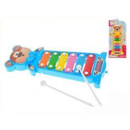 Mikro Trading Xylofon medvídek 28 cm 2 barvy na kartě