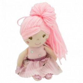 Hadrová panenka Julie s dlouhými vlásky, Tulilo, 20 cm - růžová