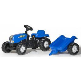 Rolly Toys Šlapací traktor Rolly Kid s vlečkou modrý