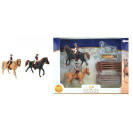 Teddies Sada 2ks koní + žokejové s doplňky farma