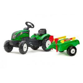 Falk Traktor Ranch Tack s volantem, valníkem, hrabičkami a lopatou - ZELENÝ