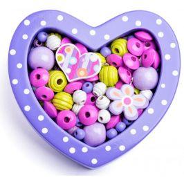 Woody Navlékací korálky - Malé srdíčko fialové
