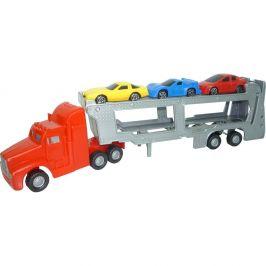 MaDe Tahač s auty, 30 cm, 5 ks autíček, červený