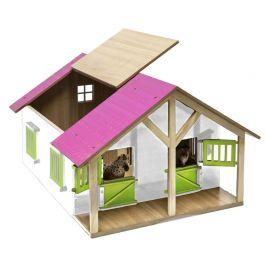Mikro hračky Stáj pro koně dřevěná 51x40,5x27,5cm růžová 1:24