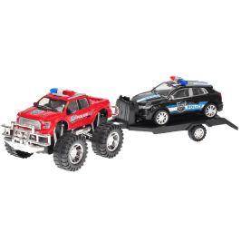 Mikro hračky Terénní auto Policie s přívěsem 58cm na setrvačník + auto 22cm na setrvačník,červená