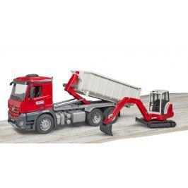 Bruder 3624 Mercedes-Benz Arocs Truck s kontejnerem a bagrem