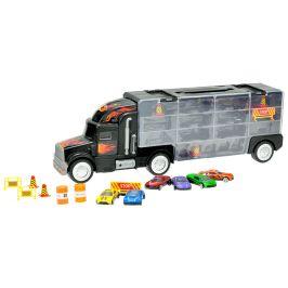 Mikro hračky Kamion s úložným prostorem 48 cm + 6 ks aut 7 cm kov a doplňky
