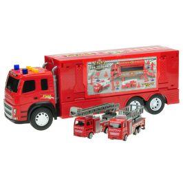 Mikro hračky Kamion 40 cm na setrvačník na baterie se světlem a zvukem + 2 auta hasiči kov 12 cm