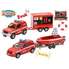 Mikro hračky Hasičská auta 13 cm kov s přívěsem a vozíkem
