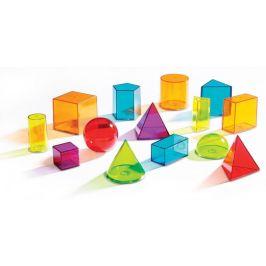 Montessori pomůcky Průhledná barevná geometrická tělesa