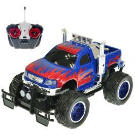 Mikro hračky R/C auto terénní 26 cm 27 MHz plná funkce na baterie se světlem modré - rozbaleno