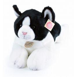 Rappa Plyšová kočka ležící černo-bílá, 35 cm