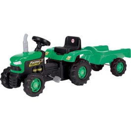 DOLU Dětský traktor šlapací s vlečkou - zelený - rozbaleno