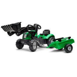 Falk Traktor šlapací Green zelený s přední lžící a valníkem