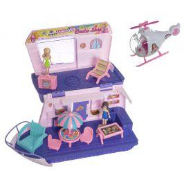 Teddies Loď pro panenky s panenkami a helikoptérou