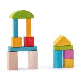 Woody Stavebnice kostky přírodní a barevné - rozbaleno