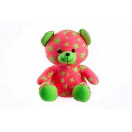 Teddies Medvídek svítící ve tmě 21 cm růžový/zelený