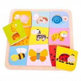 Bigjigs Toys Vkládací puzzle - 9 zvířátek