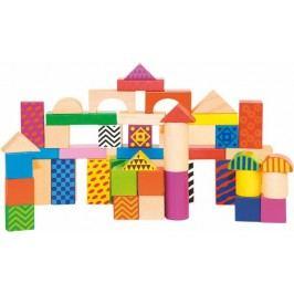 Woody Stavebnice kostky barevné, s potiskem, 50 dílů